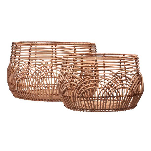 Natural Rattan Basket Set Of 2 By Drew Barrymore Flower Home Walmart Com Walmart Com