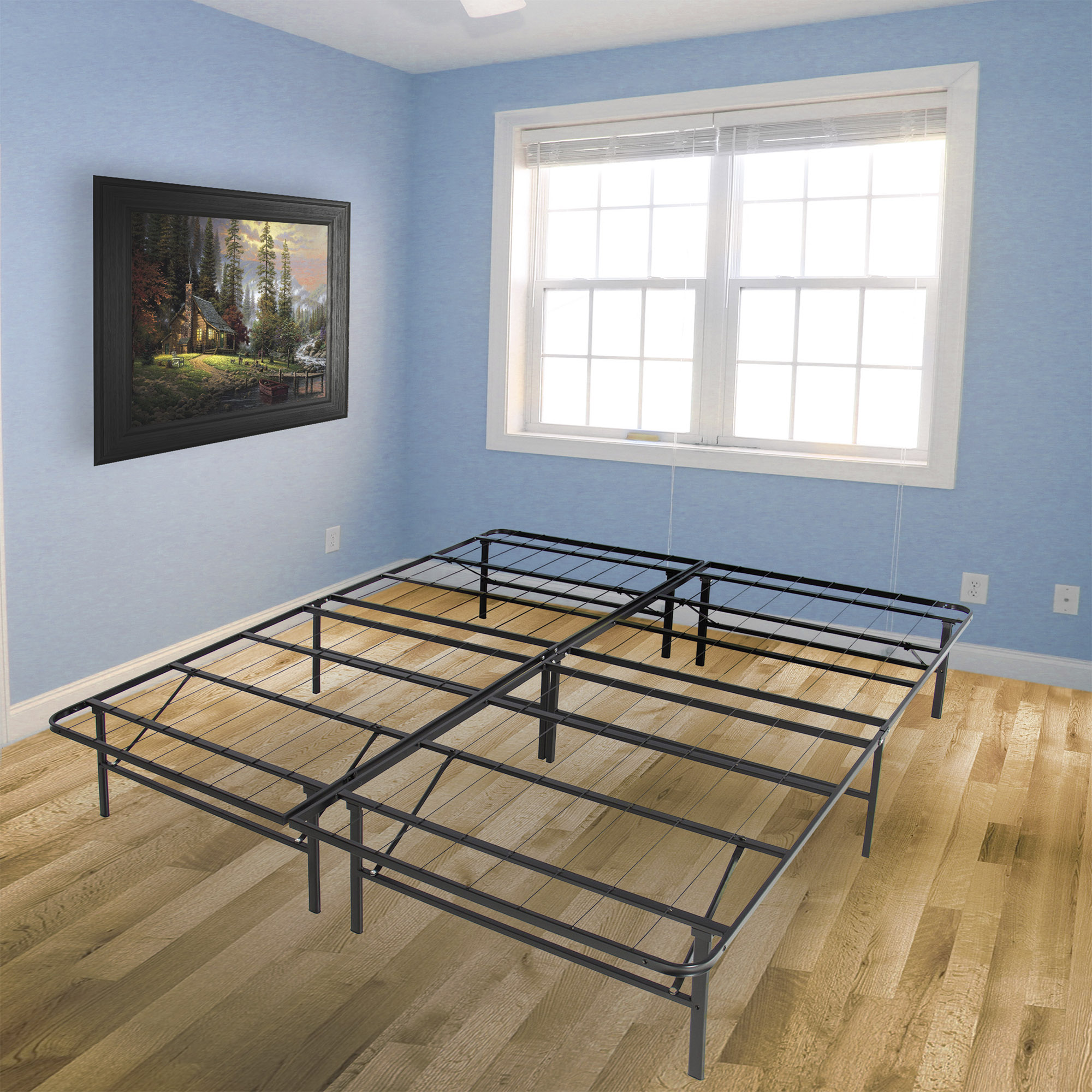 Best Choice Products Dual-Purpose Queen Sized Foldable Metal Platform Bed  Frame Mattress Foundation, No Box Spring Needed, Splits Into 2 Twin Sized