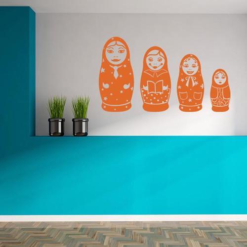 Matryoshka Dolls Vinyl Wall Art Decal 24in x 13in Dark green