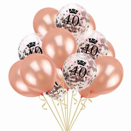 15Pcs Rose Gold Confetti Balloons Decorative Dots Jumbo 40 Birthday Party Latex Decorations