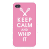 Apple Iphone Custom Case 4 4s White Plastic Snap on - Keep Calm and Whip It w/ Kitchen Beaters on Pink East access to all buttons and ports