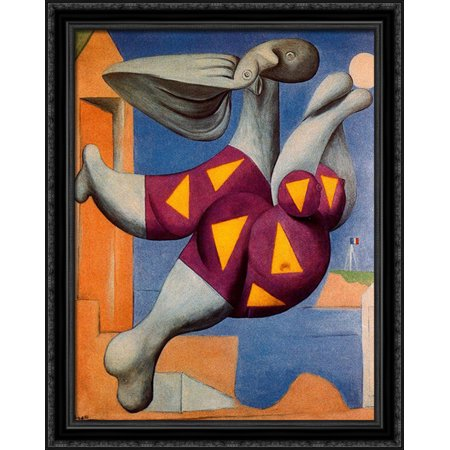 Bather with beach ball 28x36 Large Black Ornate Wood Framed Canvas Art by Pablo Picasso (Black Beach Ball)