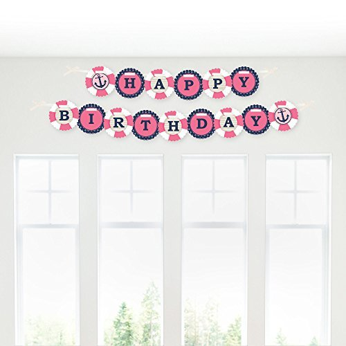 Ahoy - Nautical Girl - Birthday Party Garland Banner