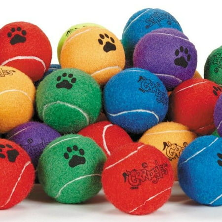 Dog Tennis Balls 2.5 inch Extra Durable Colorful Toys Bulk Available Colors Vary (10 Balls) ()