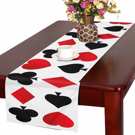 MKHERT Rows of Spades, Clubs, Hearts and Diamonds Shapes Table Runner For Wedding Party Decoration Kitchen Decor Decoration 14x72 inch
