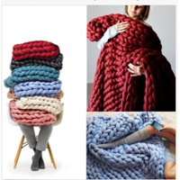 Soft & Warm Hand Chunky Knit Blanket Thick Yarn Bulky Bed Sofa Spread Throw Multifunction Blanket for Home Travel