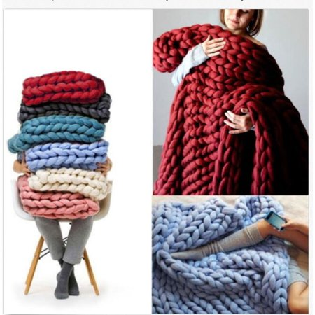 "Grtsunsea 47""x39.4""/47""x59""/39.4""x31.5"" Soft Warm Hand Chunky Knit Blanket Thick Yarn Bulky Bed Spread Throw 3 Size Multi Colors"