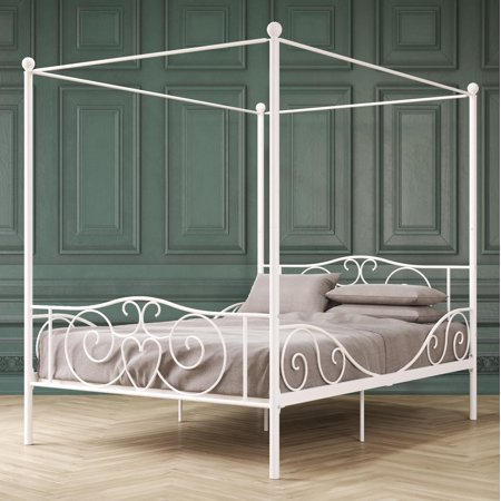DHP Canopy Metal Bed, Multiple Colors and Sizes Full Size Wide Bed