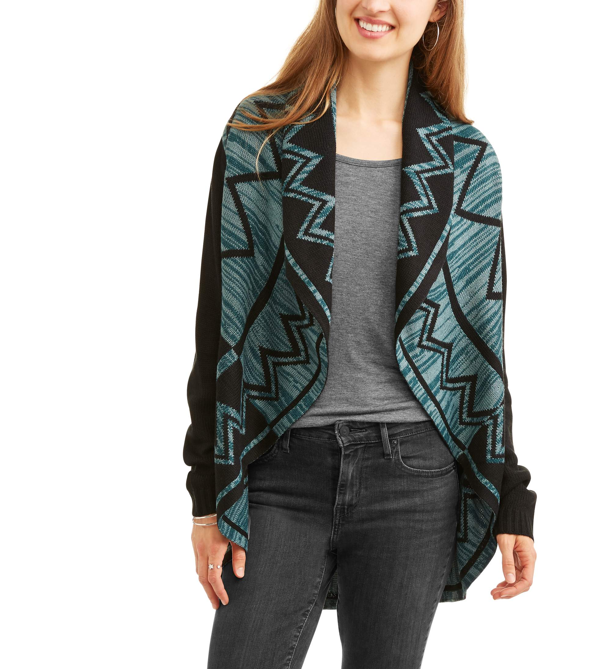 Allison Brittney Women's Marled Aztec Shawl Cardigan