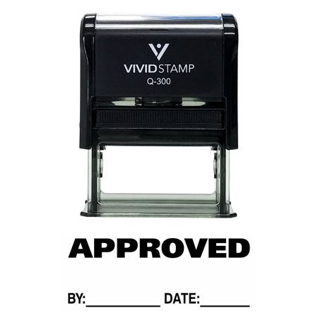 APPROVED w/ By Date Line Self-Inking Office Rubber Stamp (Black) - Large
