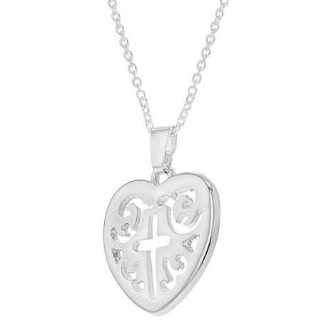 """Plaqué Rhodium croix de coeur collier pendentif Médaille religieuse 19"""" - image 2 de 5"""