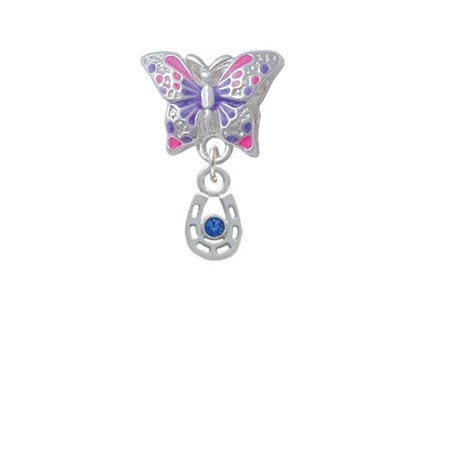 Mini Horseshoe with Blue Crystal - Butterfly Charm - Horse Shoe Crafts