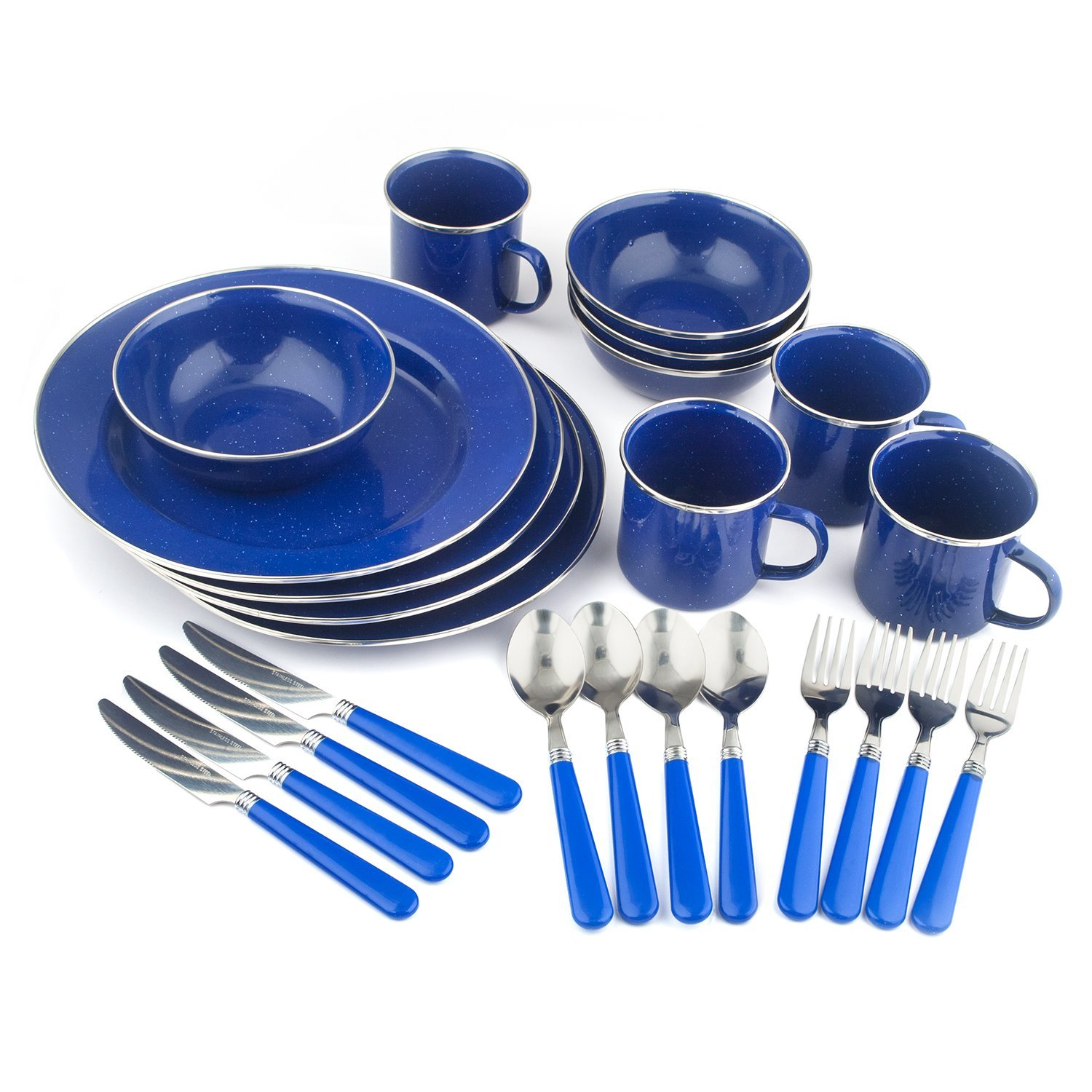 Enamel Camping Tableware Set, 24-Piece, Blue, High quality durable 24-piece steel tableware set with blue enamel finish By Stansport