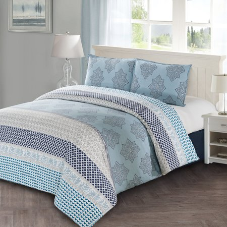 lilou 3pc duvet cover set blue gray and white block print 100 cotton machine washable. Black Bedroom Furniture Sets. Home Design Ideas