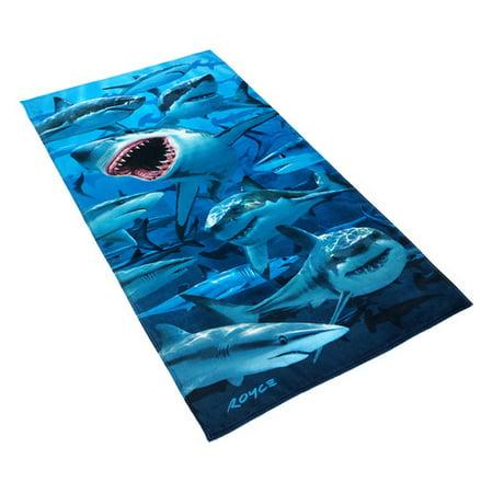 (Kaufman Sales Royce Hungry Shark 100pct Cotton Beach Towel)