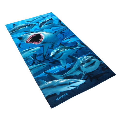 Kaufman Sales Royce Hungry Shark 100pct Cotton Beach Towel
