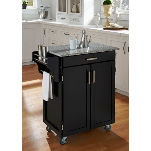Home Styles Cuisine Kitchen Cart, Black with Salt & Pepper Granite Top