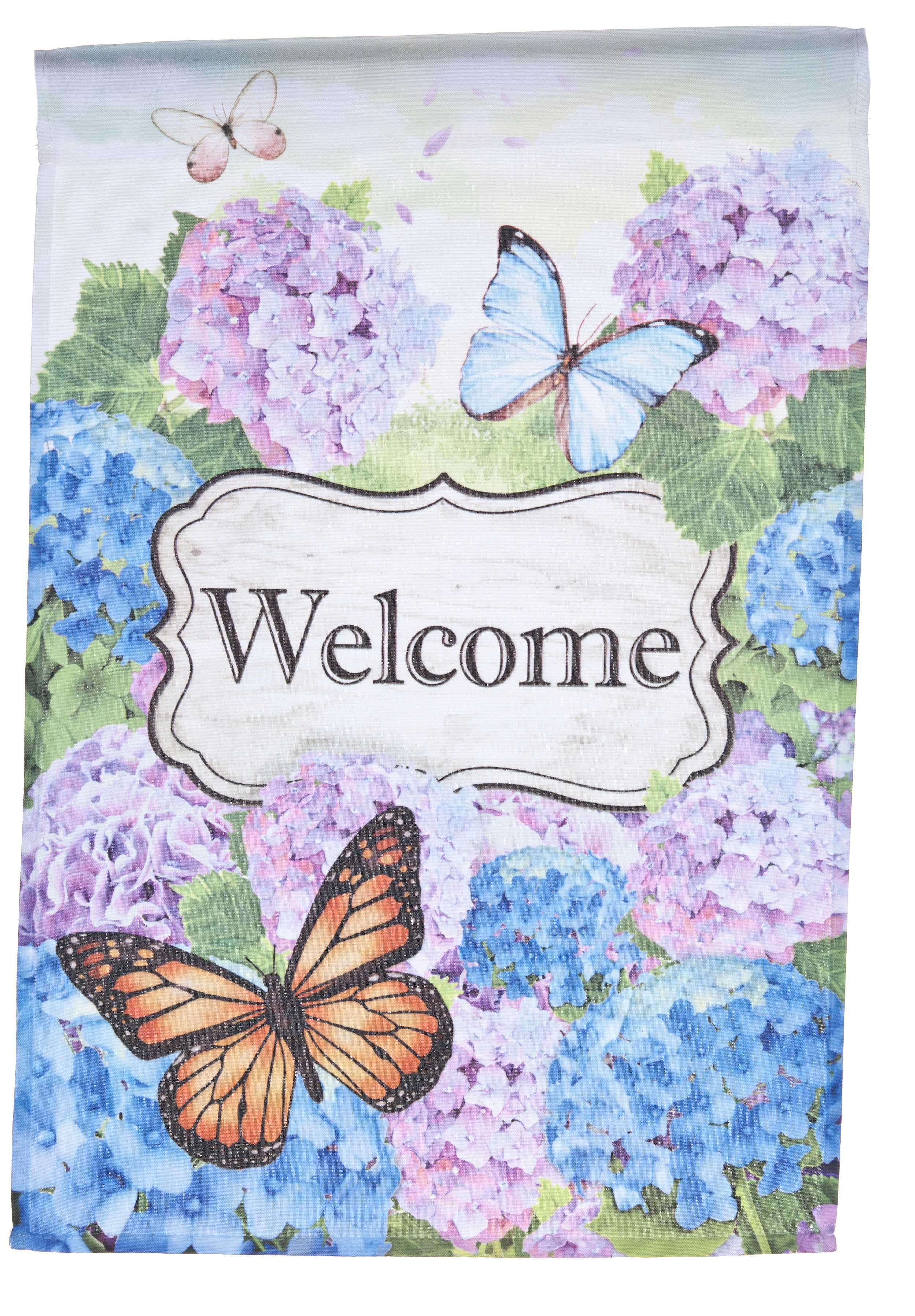 Butterflies & Flowers Welcome Lawn Flag by Garden Accents (12 x 18 Inch) by