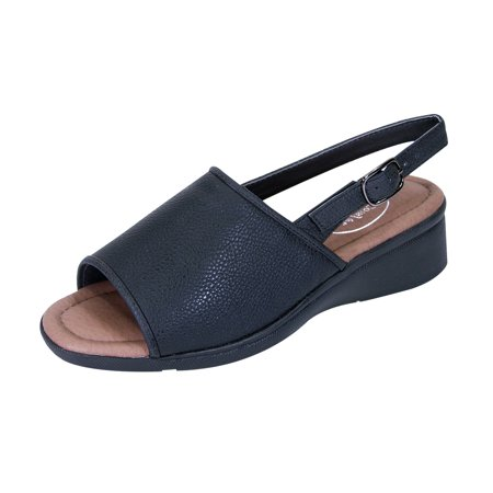 24 HOUR COMFORT Sally Women Extra Wide Width Open-Toe Slingback Buckle Open Back BLACK 5