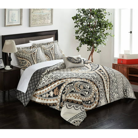 (Chic Home Cerys 8 Piece Reversible Duvet Cover Set Microfiber Paisley Print with Contemporary Geometric Patterned Backing Zipper Bedding with Sheet Sets Decorative Shams Pillows, King Beige)