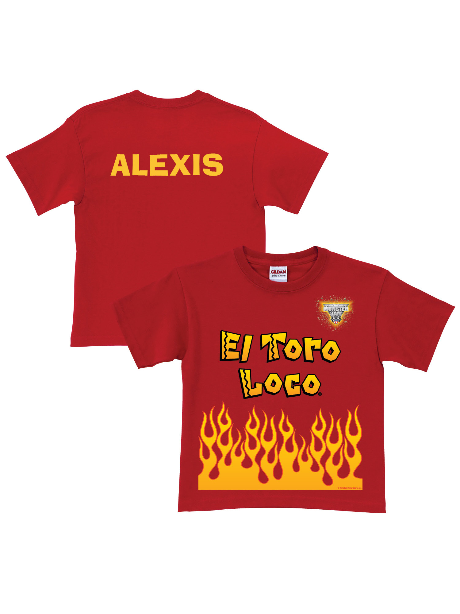 Personalized Monster Jam El Toro Loco Uniform Toddler Boys' T-Shirt, Red