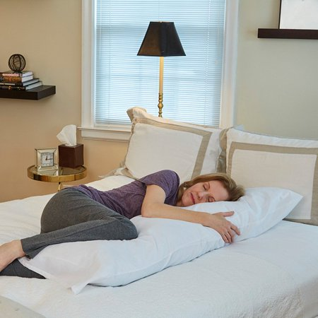 """(Body Pillow by Hermell Products includes White Cover, Relief for Neck and Back Pain, Pregnancy, Side Sleeper, 52"""" x 6"""