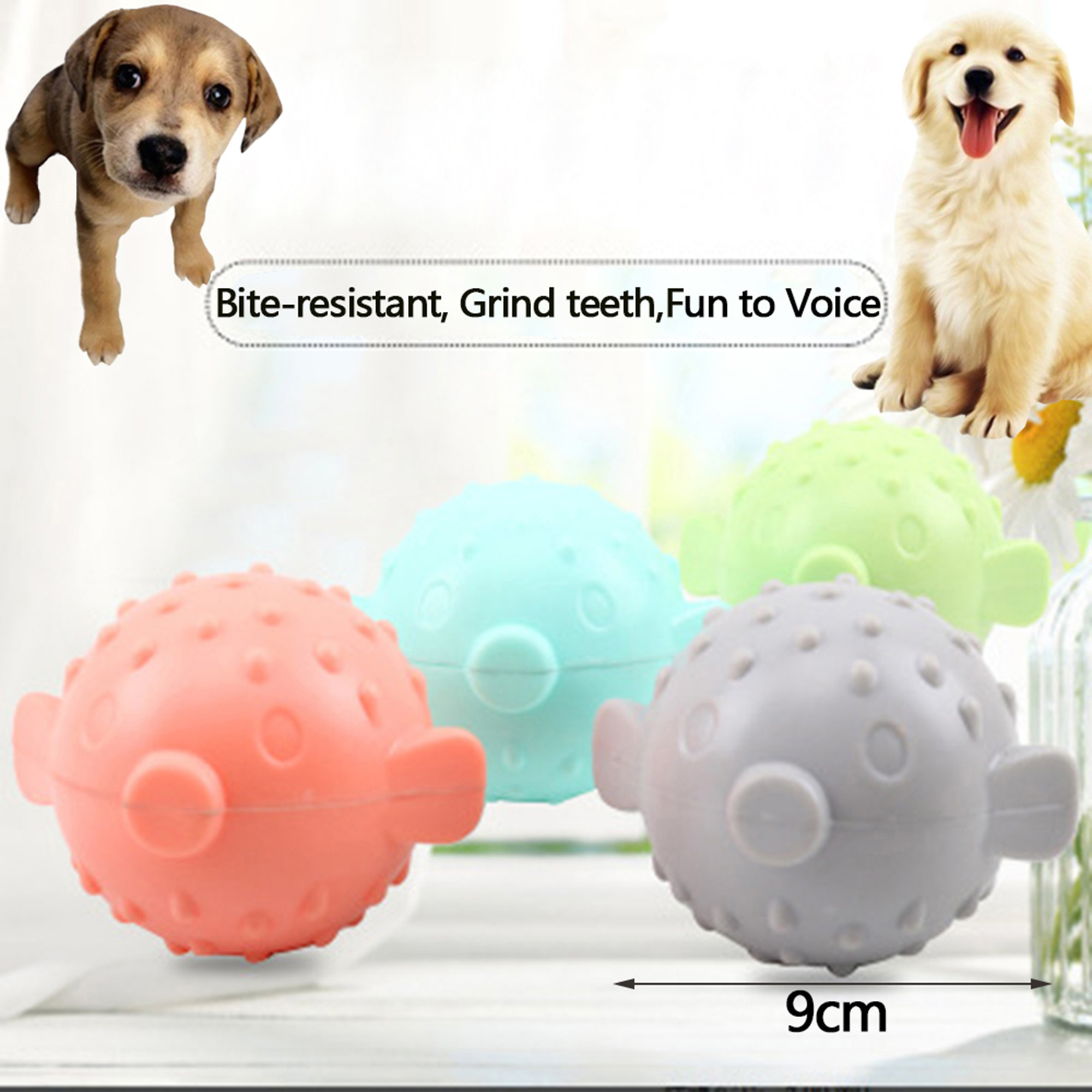 Treat Ball Pet Dog Toy Smile With Teeth Grinding Chew Sound Funny Playing JG FD