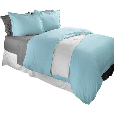 Clara Clark 1800 Series Duvet Cover Set 2pc - Includes 1 Pillow Sham Twin Size, Light Blue ()