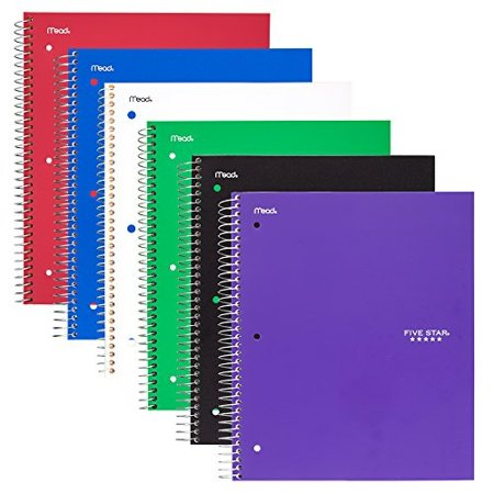 five-star-5-subject-wide-ruled-notebook-6-pack,-assorted-colors-(38417) by five-star