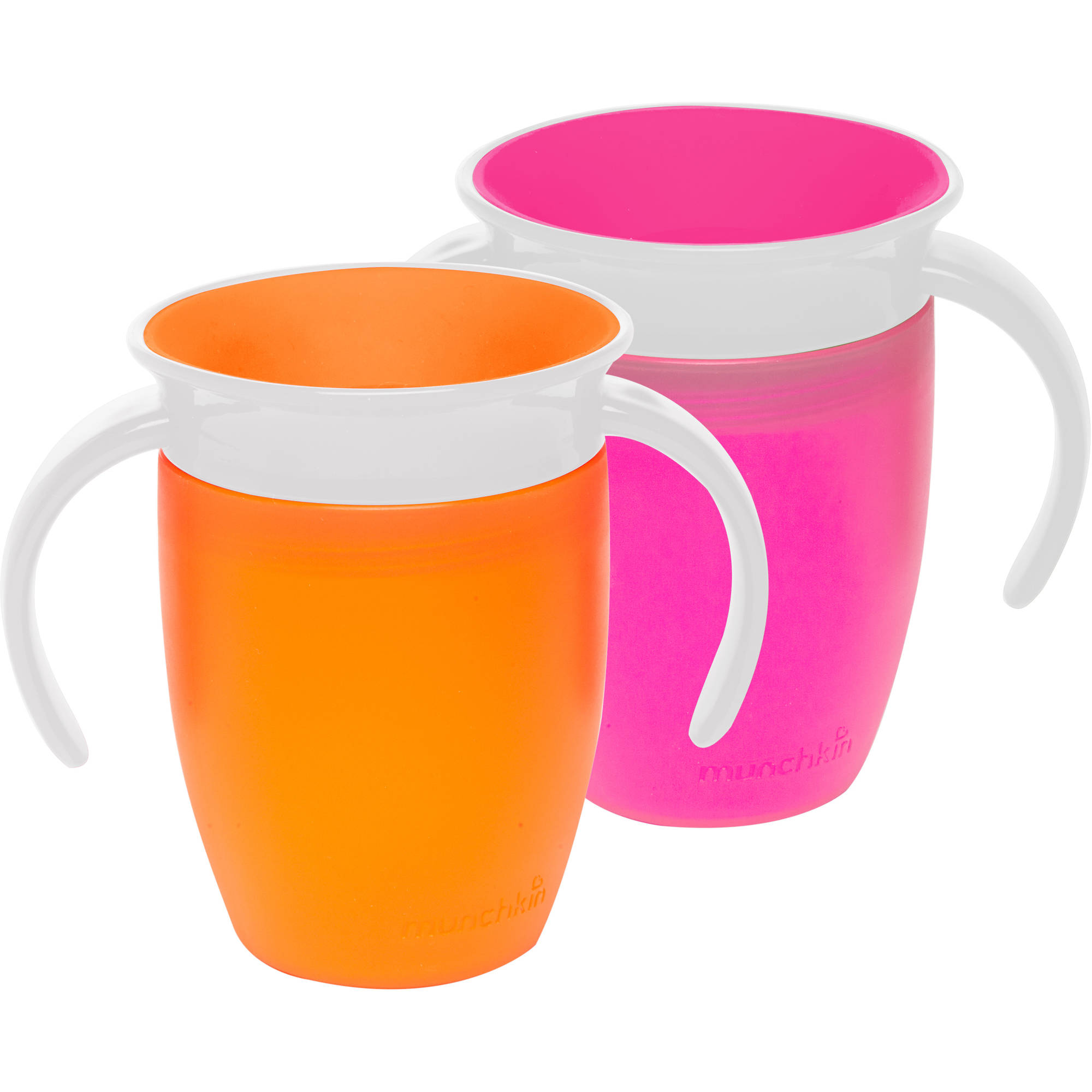 Munchkin Miracle 360 7oz Trainer Cup, BPA-Free, 2-Pack, Pink/Orange
