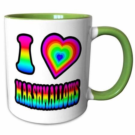 3dRose Groovy Hippie Rainbow I Heart Love Marshmallows - Two Tone Green Mug, 11-ounce