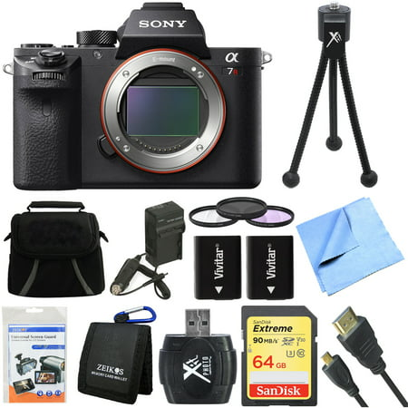 Sony ILCE7RM2/B a7R II Full-Frame Mirrorless Interchangeable Lens Camera Body 64GB Bundle includes a7R II Full-frame Camera Body, Screen Protectors, Gadget Bag, 64GB SDXC Memory Card and More