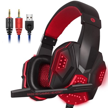 3.5mm Wired Gaming Game Headset w/Mic LED Headphones for PC Mac Laptop Computer (Video Game Headphones)