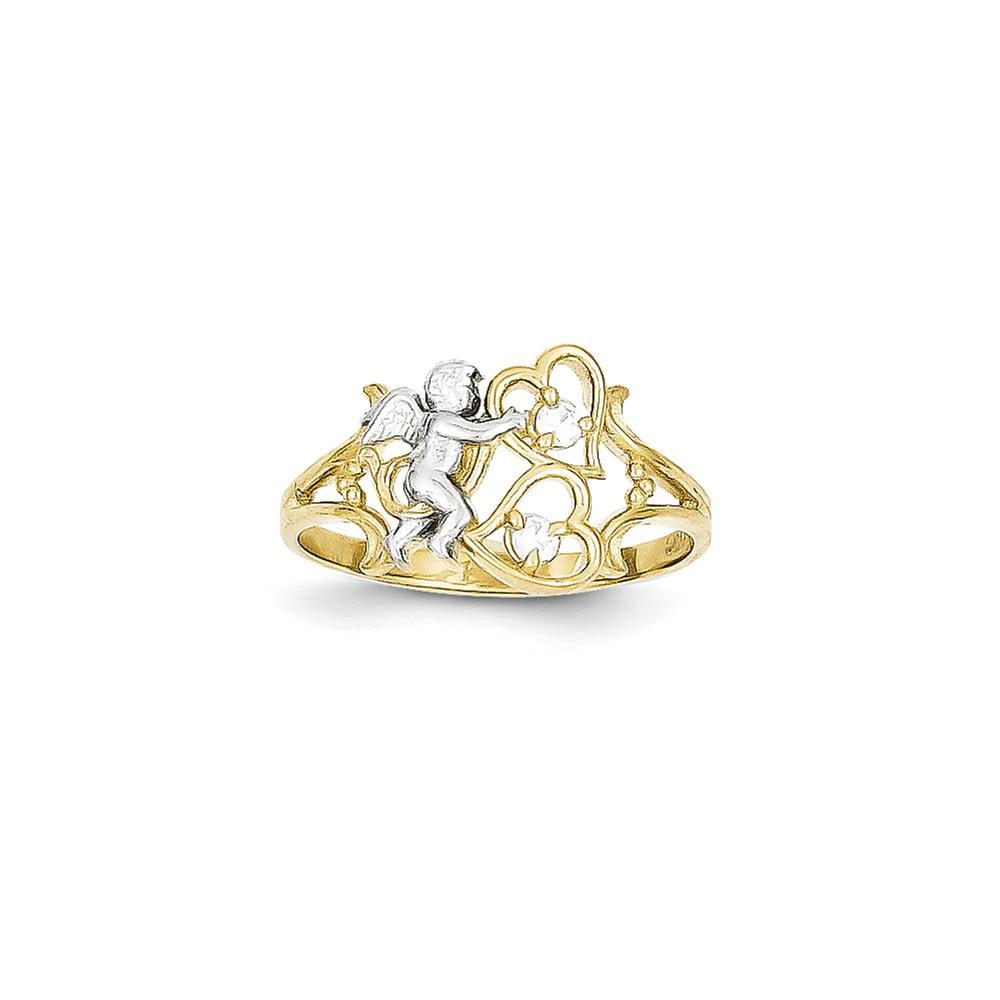 10k Yellow Gold CZ Angel w/ Hearts Ring