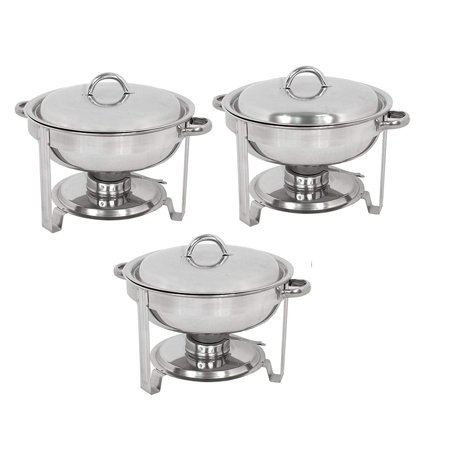 Zeny Pack of 3 Round Chafing Dish Full Size 5 Quart Stainless Steel Deep Pans Chafer Dish Set Buffet Catering Party Events Warmer Serving Set Utensils w/Fuel Holder (Pan Warmers)