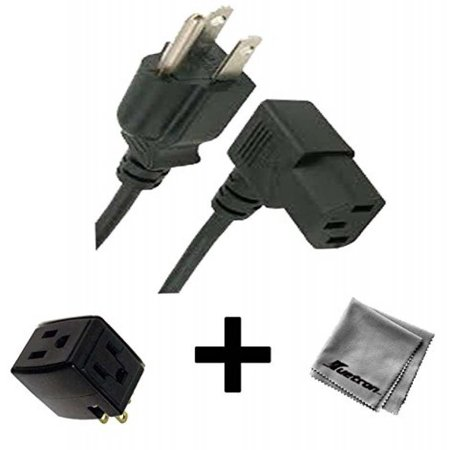 6FT Right Angled AC Power Cord for Dell OptiPlex GX280 Desktop + 3 Outlet Adapter Gx280 Desktop