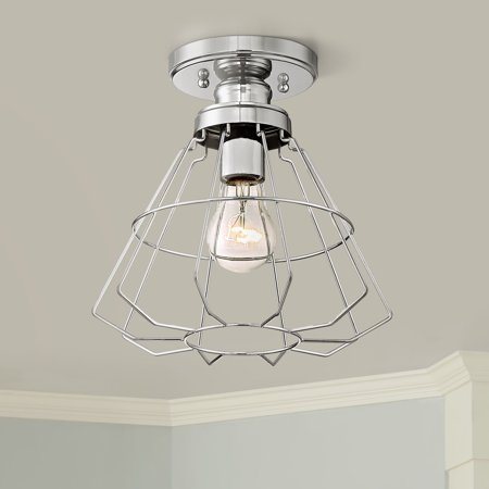 "360 Lighting Modern Ceiling Light Semi Flush Mount Fixture Chrome 10"" Wide Open Cage for Bedroom Kitchen Living Room Hallway"