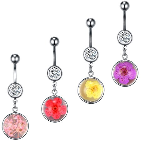 BodyJ4You 4PC Belly Button Rings Dried Flowers Dangle Steel Bar 14G Women Navel Body Piercing Butterfly Dangle Belly Navel Ring