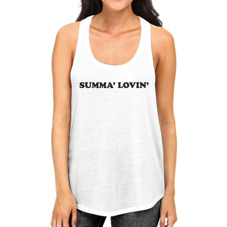 Summa' Lovin' Womens White Cute Graphic Racerback Tank Top For Her