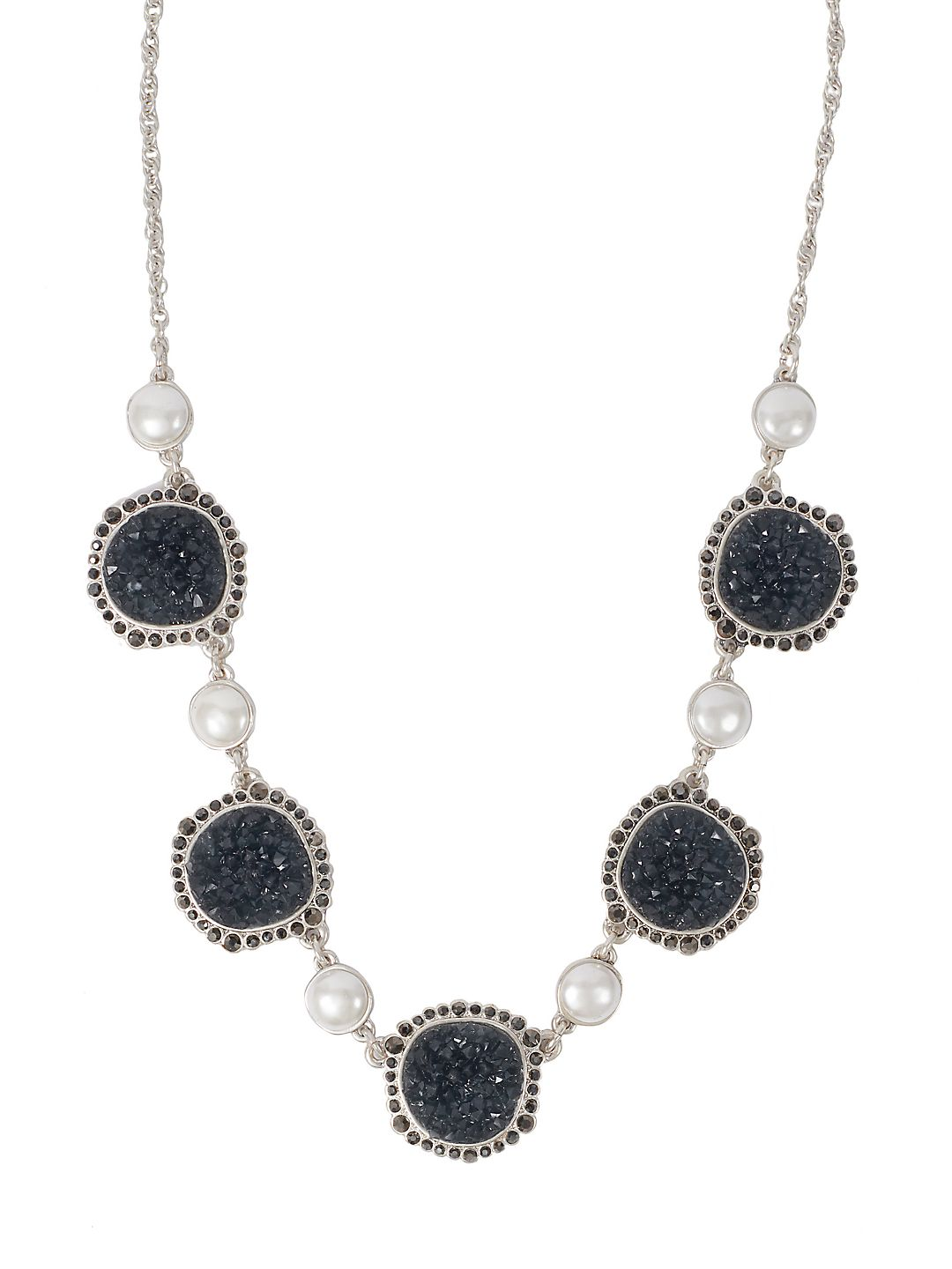 Modern Opulence Faux-Pearl & Druzy Statement Collar Necklace