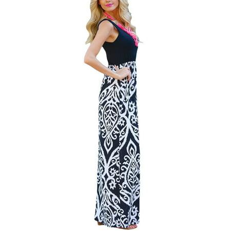 SAYFUT Women's Ruched Sleeveless Tank Maternity Dress Vintage Print Wrap Long Dresses Plus Size -