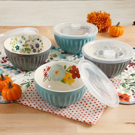 The Pioneer Woman Flea Market 5.76-Inch Latte Bowls with Lids, Set of 4 (Small Heart Bowl)