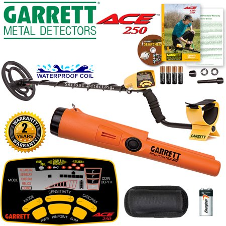 Garrett ACE 250 Metal Detector w/ Pro-Pointer AT and 6.5