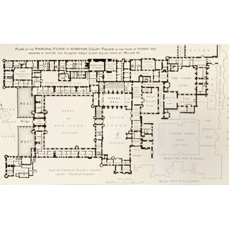 Plan Of Principal Floor Of Hampton Court Palace As It Was During Reign Of King Henry Viii From History Of Hampton Court Palace In Tudor Times By Ernest Law Published London 1885 PosterPrint - Hampton Halloween Times