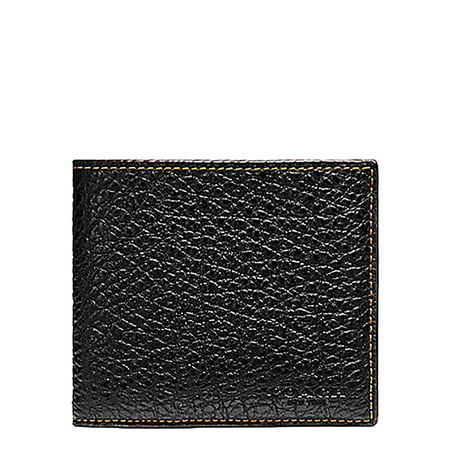 - New  8687-2 Coach Mens Black Buffalo Embossed Leather Double Bill BiFold Wallet $175