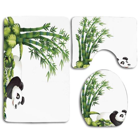 XDDJA Happy Panda Tropical Plants Bamboo Trees Endangered Mammals Cartoon Art 3 Piece Bathroom Rugs Set Bath Rug Contour Mat and Toilet Lid Cover - image 1 de 2