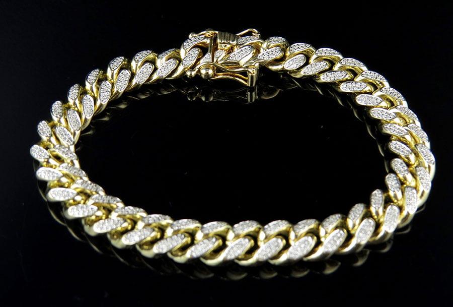 10K Yellow Gold Miami Cuban Link Diamond Bracelet 2.50ct 10MM by Jewelry Unlimited
