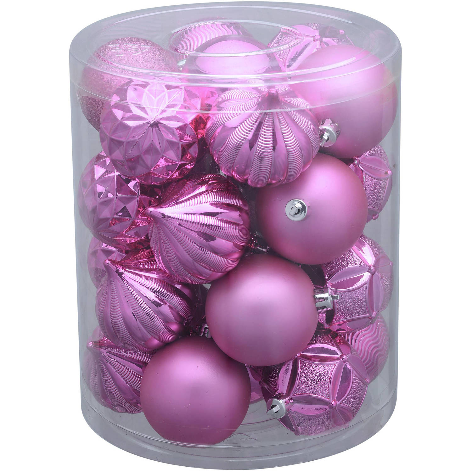 Holiday Time 26-Pack Pink Matte Glitter Ornaments