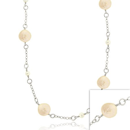 Sterling Silver Freshwater Cultured Pink & White Coin Pearl Leaf Link Necklace, 30 Inches