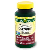 Spring Valley Turmeric Curcumin with Ginger Powder Dietary Supplement, 500 mg, 90 count